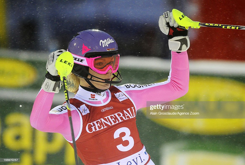 Maria Hoefl-Riesch of Germany takes 1st place during the Audi FIS Alpine Ski World Cup Women's Slalom on November 10, 2012 in Levi, Finland.