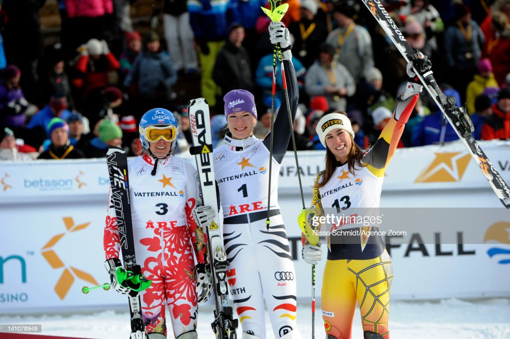 Maria Hoefl-Riesch of Germany takes 1st place, Veronika Zuzulova of Slovakia takes 2nd place, Marie-Michele Gagnon of Canada takes 3rd place during the Audi FIS Alpine Ski World Cup Women's Slalom on March 10, 2012 in Are, Sweden.