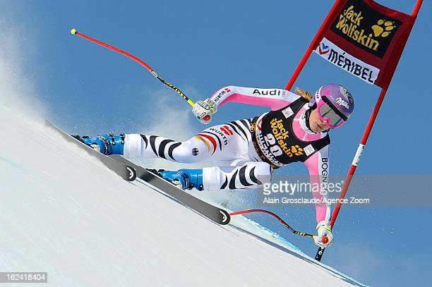 Maria HoeflRiesch of Germany takes 2nd place during the Audi FIS Alpine Ski World Cup Women's Downhill on February 23 2013 in Meribel France