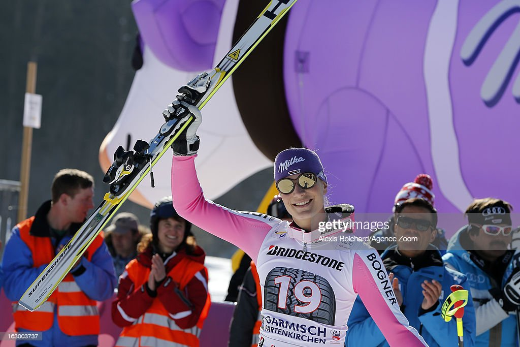 Maria Hoefl-Riesch of Germany takes 2nd place during the Audi FIS Alpine Ski World Cup Women's SuperG on March 03, 2013 in Garmisch-Partenkirchen, Germany.