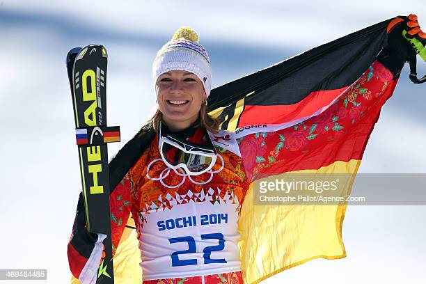 Maria HoeflRiesch of Germany wins the silver medal during the Alpine Skiing Women's SuperG at the Sochi 2014 Winter Olympic Games at Rosa Khutor...