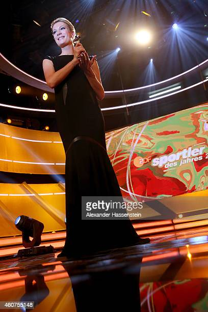Maria HoeflRiesch poses with the Athlete of the Year award after the Sportler des Jahres 2014 gala at the Kurhaus BadenBaden on December 21 2014 in...