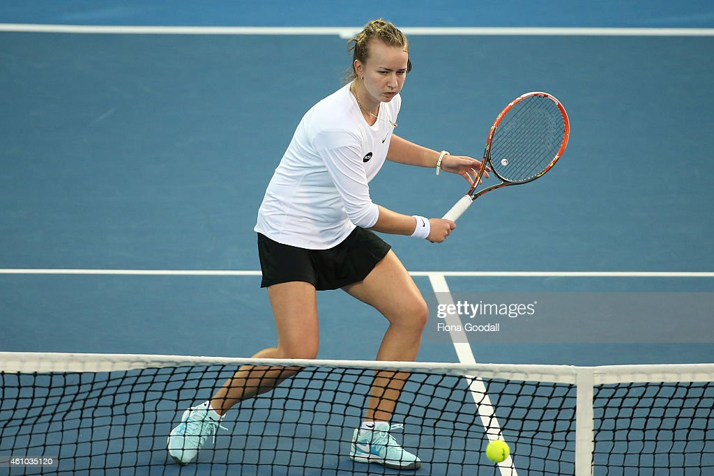 Maria Irigoyen of Argentina in action with her doubles partner Barbora Krejcikova of the Czech Republic in their match against <a gi-track='captionPersonalityLinkClicked' href=/galleries/search?phrase=Marina+Erakovic&family=editorial&specificpeople=2229236 ng-click='$event.stopPropagation()'>Marina Erakovic</a> of New Zealand and her partner Monica Puig (R) of Puerto Rico during day one of the 2015 ASB Classic at ASB Tennis Centre on January 5, 2015 in Auckland, New Zealand.