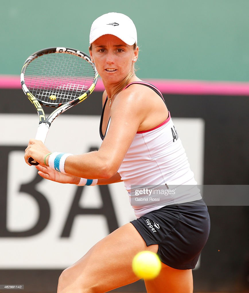 Maria Irigoyen of Argentina sets uo for a shot during a singles match between Maria Irigoyen and Venus Williams as part of Fed Cup 2015 at Pilara Tenis Club on February 08, 2015 in Buenos Aires, Argentina.