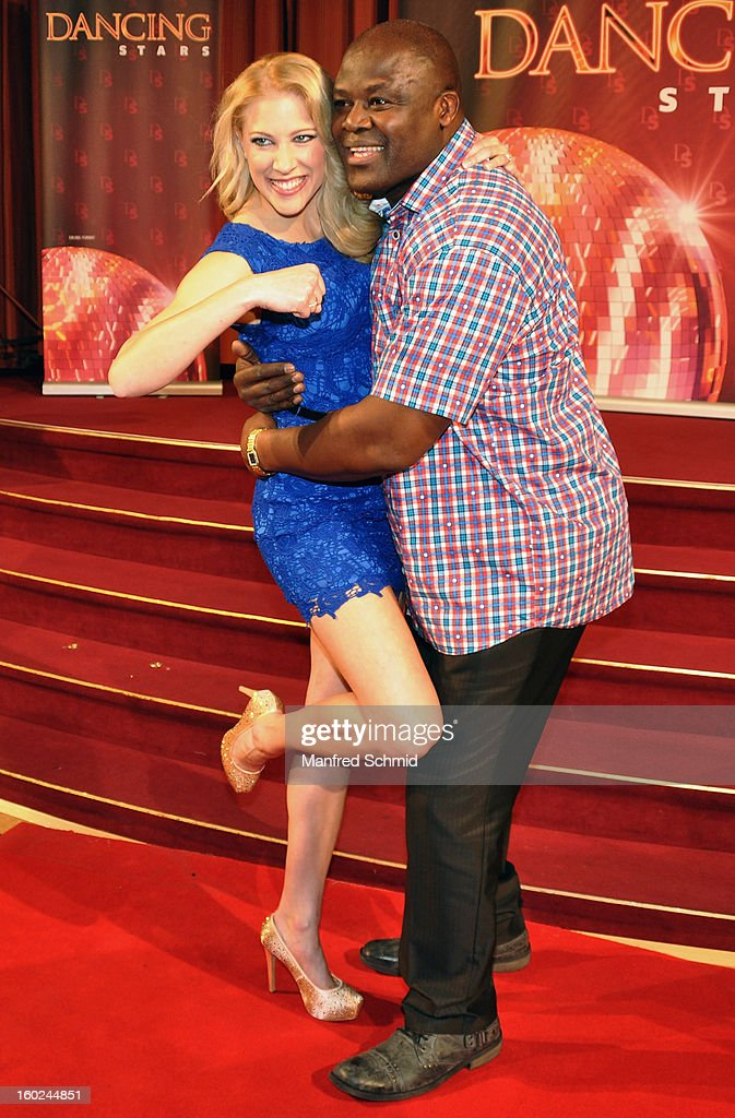 Maria Jahn and Biko Botowamungo are presented as dance partners at a press conference during the eighth season of TV show 'ORF Dancing Stars 2013' on January 28, 2013 in Vienna, Austria.