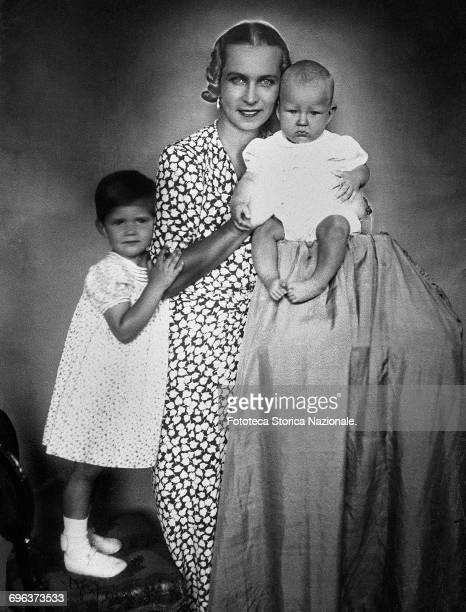 Maria José of Belgium princess consort of the future Umberto II of Savoy with the first two children Maria Pia and Vittorio Emanuele Prince of Naples...