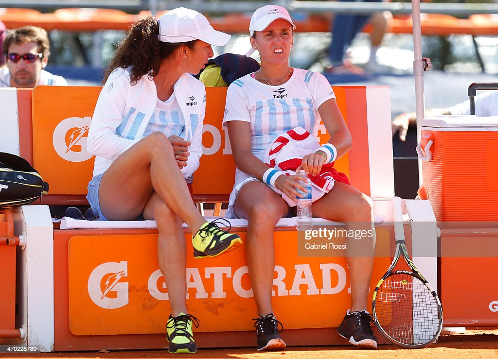 Maria Jose Gaidano coach of Argentina talks with Maria Irigoyen of Argentina during a round 2 match between Maria Irigoyen of Argentina and Lara Arruabarrena of Spain as part of World Group II Playoffs of Fed Cup 2015 between Argentina and Spain at Tecnopolis on April 18, 2015 in Villa Martelli, Buenos Aires, Argentina. The playoff will decide who gets to maintain their position in the group.