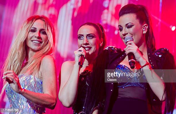 Maria Jose Martha Sanchez and Monica Naranjo perform live during the concert Idolos at the Palace of Sports on June 28 2013 in Mexico City Mexico