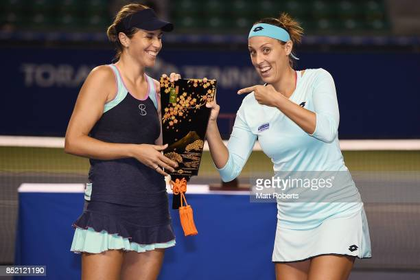 Maria Jose Martinez of Spain and Andreja Klepac of Slovenia pose with the winners trophy after defeating Daria Gavrilova of Australia and Daria...
