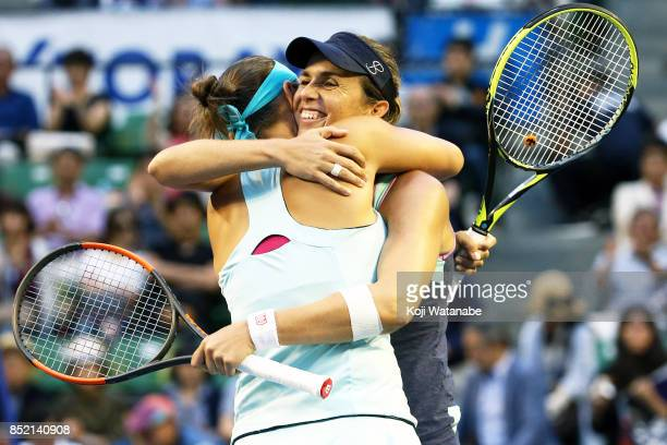 Maria Jose Martinez of Spain and Andreja Klepac of Slovenia celebrates winning after defeating Daria Gavrilova of Australia and Daria Kasatkina of...
