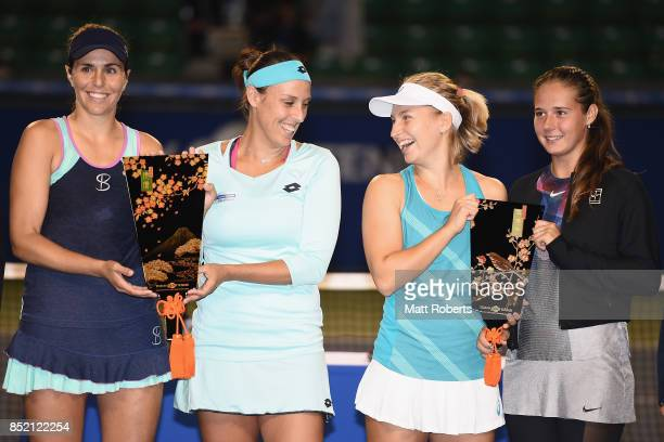 Maria Jose Martinez of Spain Andreja Klepac of Slovenia Daria Gavrilova of Australia and Daria Kasatkina of Russia pose during the trophy...