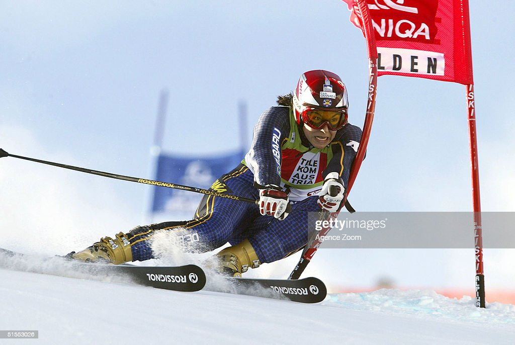 Maria Jose Rienda Contreras of Spain skis during the Women's Giant Slalom during the FIS Alpine Ski World Cup on October 23, 2004 in Soelden, Austria. Contreras finished in third place.