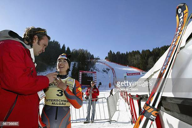 Maria Jose Rienda of Spain is interviewed after winning the FIS World Cup Women's Giant slalom on February 3 2006 in Ofterschwang Germany