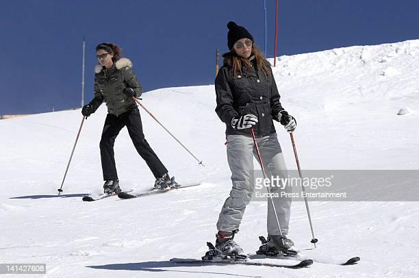 Maria Jose Suarez and Raquel Rodriguez are seen skiing on March 10 2012 in Granada Spain