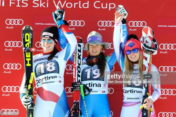 Maria KaufmannAbderhalden Tina MazeTina Weirather on the podium during the Audi FIS Alpine Ski World Cup Women's Downhill on January 25 2014 in...