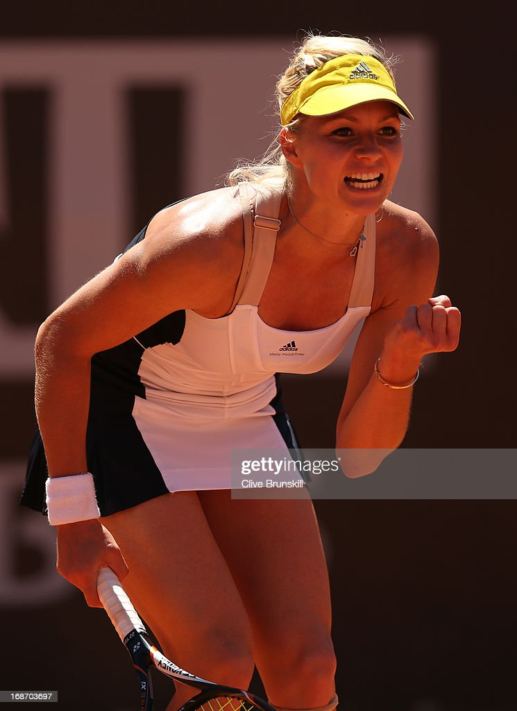 Maria Kirilenko of Russia celebrates a point against Anabel Medina Garrigues of Spain in their first round match during day three of the Internazionali BNL d'Italia 2013 at the Foro Italico Tennis Centre on May 14, 2013 in Rome, Italy.