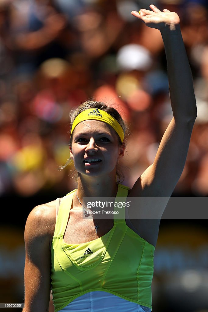 Maria Kirilenko of Russia celebrates winning her third round match against Yanina Wickmayer of Belgium during day six of the 2013 Australian Open at Melbourne Park on January 19, 2013 in Melbourne, Australia.