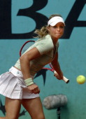 Maria Kirilenko of Russia during her 62 76 defeat by AnnaLena Groenfeld of Germany in the third round of the 2006 French Open in Paris France on June...