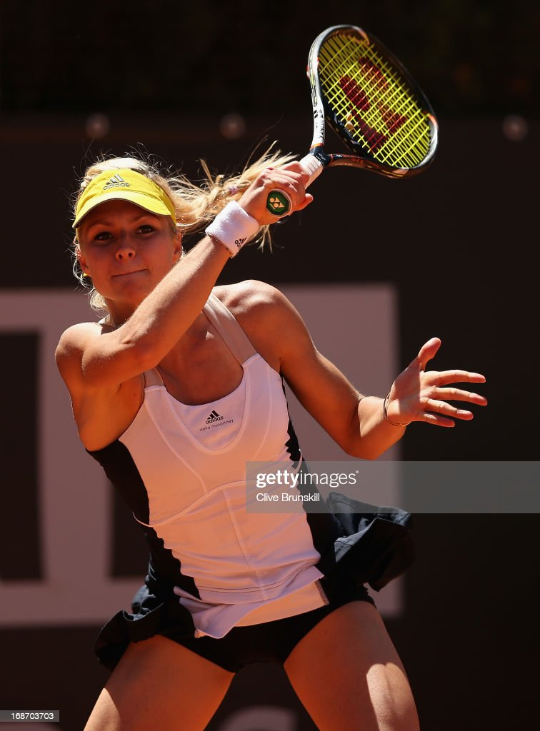 Maria Kirilenko of Russia in action against Anabel Medina Garrigues of Spain in their first round match during day three of the Internazionali BNL d'Italia 2013 at the Foro Italico Tennis Centre on May 14, 2013 in Rome, Italy.