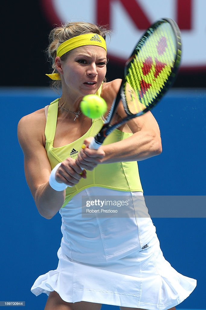 Maria Kirilenko of Russia plays a backhand in her third round match against Jamie Hampton of the United States during day six of the 2013 Australian Open at Melbourne Park on January 19, 2013 in Melbourne, Australia.