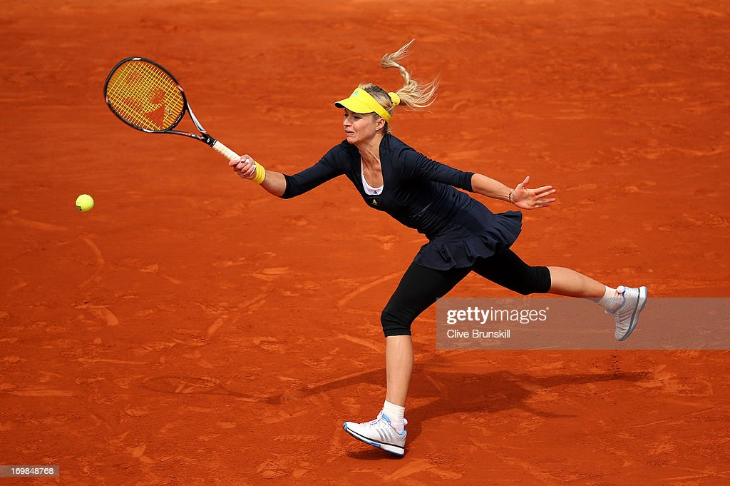<a gi-track='captionPersonalityLinkClicked' href=/galleries/search?phrase=Maria+Kirilenko&family=editorial&specificpeople=211512 ng-click='$event.stopPropagation()'>Maria Kirilenko</a> of Russia plays a forehand during her Women's Singles match against Bethanie Mattek-Sands of the United States of America on day nine of the French Open at Roland Garros on June 3, 2013 in Paris, France.