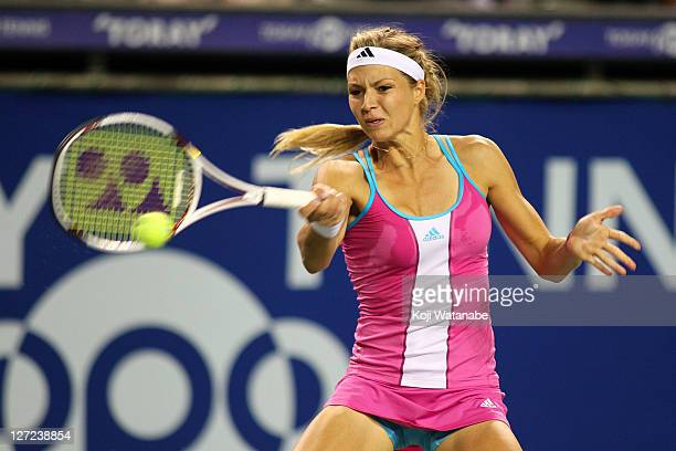 Maria Kirilenko of Russia plays a forehand in her match against Samantha Stosur of Australia during the day three of the Toray Pan Pacific Open at...
