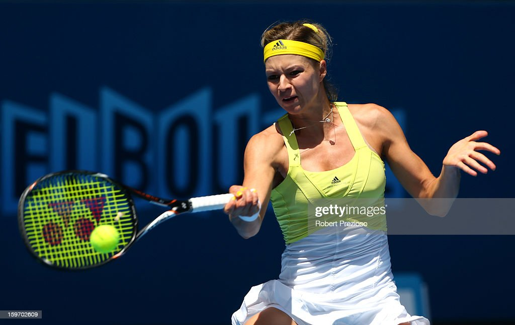 Maria Kirilenko of Russia plays a forehand in her third round match against Yanina Wickmayer of Belgium during day six of the 2013 Australian Open at Melbourne Park on January 19, 2013 in Melbourne, Australia.