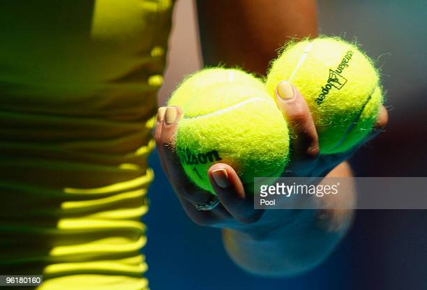 Maria Kirilenko of Russia prepares to serve in her quarterfinal match against Jie Zheng of China during day nine of the 2010 Australian Open at...