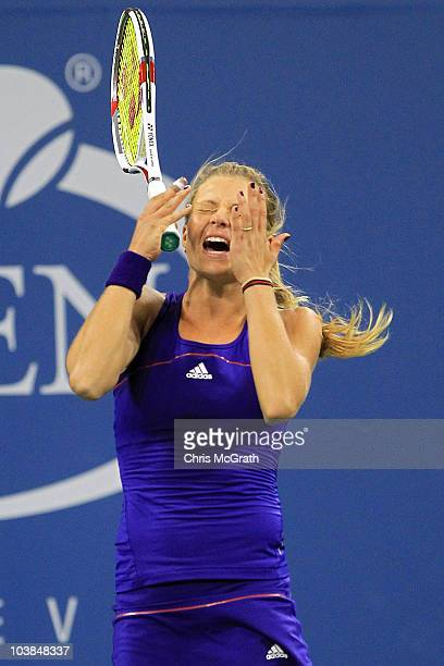 Maria Kirilenko of Russia reacts after a point against Svetlana Kuznetsova of Russia during her women's singles match on day six of the 2010 US Open...