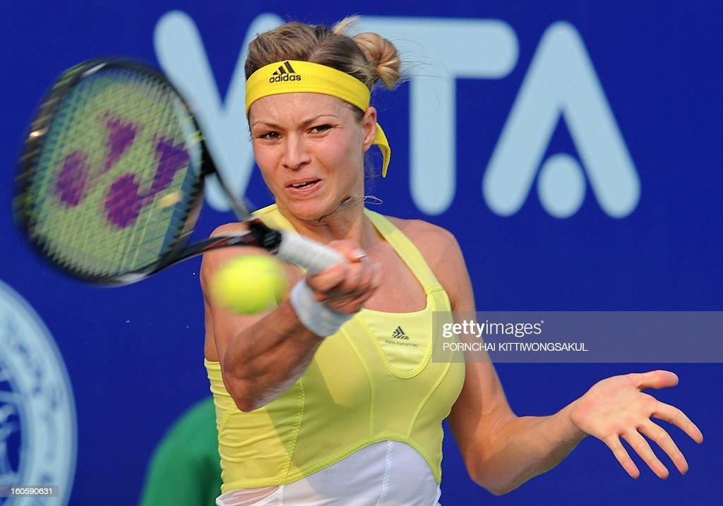 Maria Kirilenko of Russia returns a shot to Sabine Lisicki of Germany during the tennis women's singles final of the WTA Pattaya Open tennis tournament in Pattaya resort on February 3, 2013. Kirilenko beat Lisicki 7-5, 1-6, 6-7.