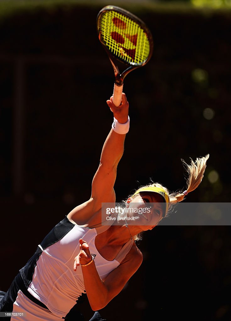Maria Kirilenko of Russia serves against Anabel Medina Garrigues of Spain in their first round match during day three of the Internazionali BNL d'Italia 2013 at the Foro Italico Tennis Centre on May 14, 2013 in Rome, Italy.