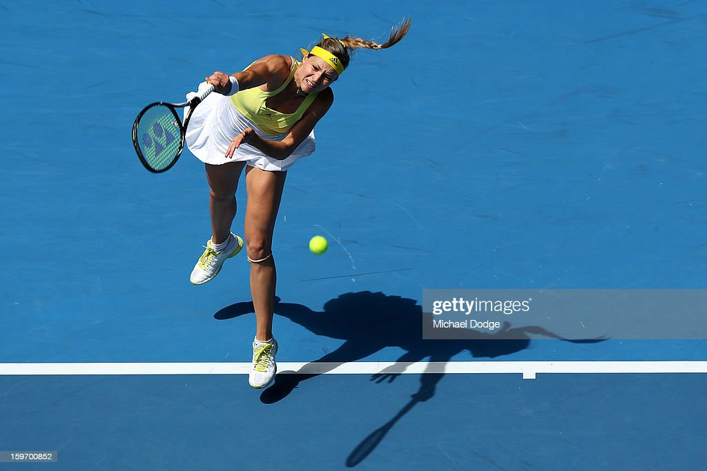 Maria Kirilenko of Russia serves in her third round match against Yanina Wickmayer of Belarus during day six of the 2013 Australian Open at Melbourne Park on January 19, 2013 in Melbourne, Australia.