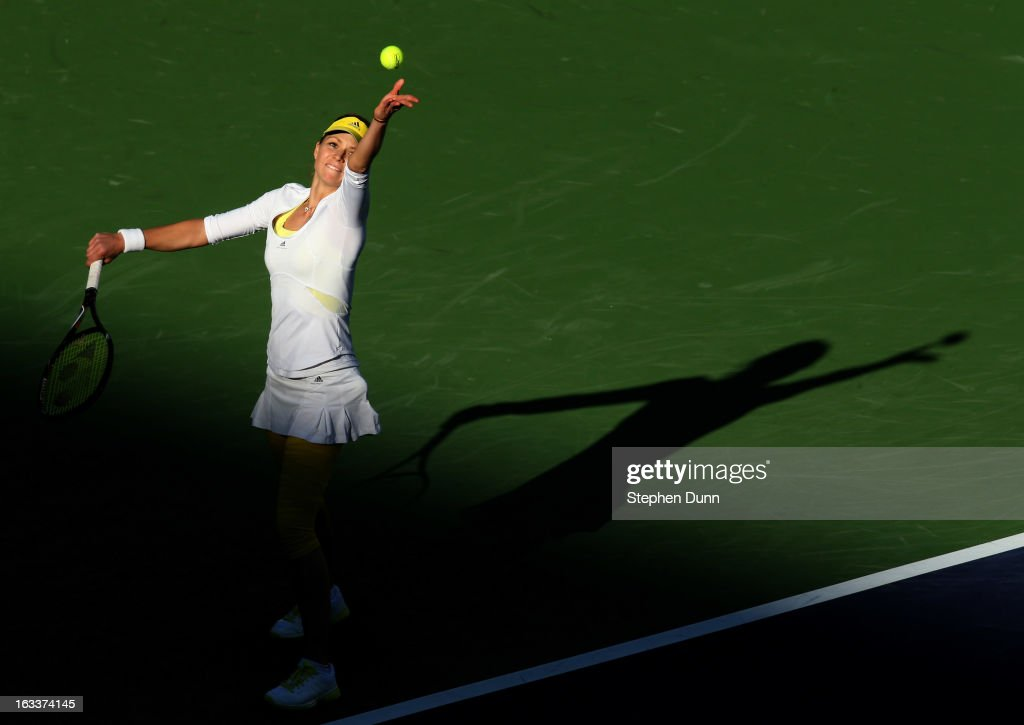 Maria Kirilenko of Russia serves to Christina McHale during day 3 of the BNP Paribas Open at Indian Wells Tennis Garden on March 8, 2013 in Indian Wells, California.
