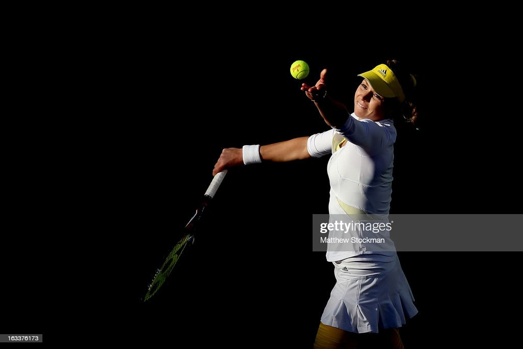 <a gi-track='captionPersonalityLinkClicked' href=/galleries/search?phrase=Maria+Kirilenko&family=editorial&specificpeople=211512 ng-click='$event.stopPropagation()'>Maria Kirilenko</a> of Russia serves to Christina McHale during the BNP Paribas Open at the Indian Wells Tennis Garden on March 8, 2013 in Indian Wells, California.