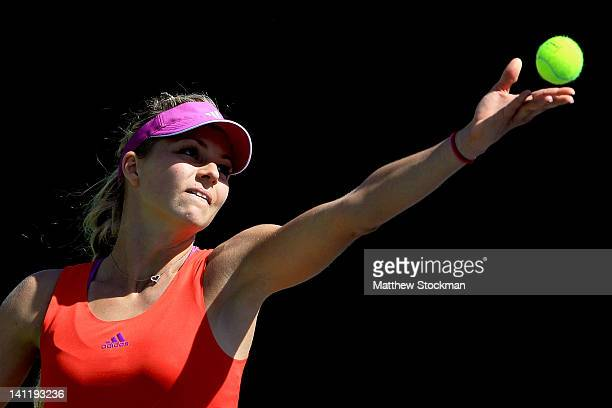 Maria Kirilenko of Russia serves to Lourdes Dominguez Lino of Spain during the BNP Paribas Open at the Indian Wells Tennis Garden on March 12 2012 in...