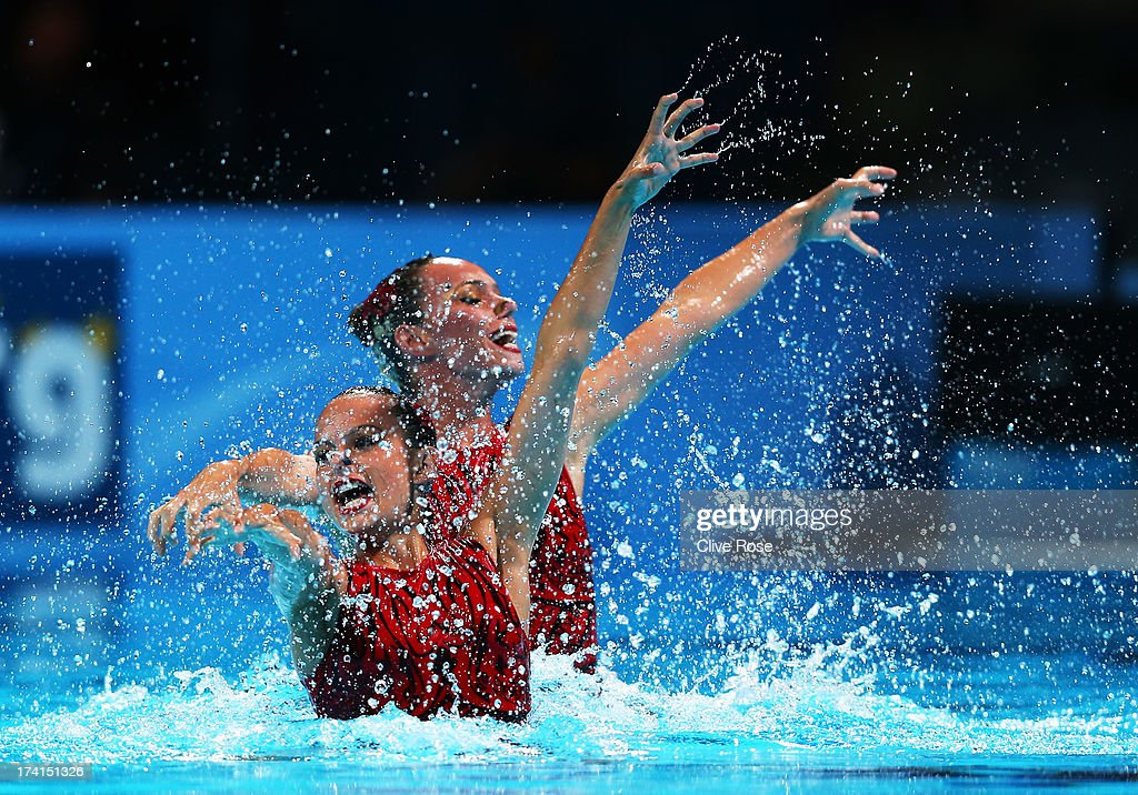 <a gi-track='captionPersonalityLinkClicked' href=/galleries/search?phrase=Maria+Kirkova+-+Swimmer&family=editorial&specificpeople=14698286 ng-click='$event.stopPropagation()'>Maria Kirkova</a> and Kalina Yordanova of Bulgaria compete in the Synchronized Swimming Duet Technical preliminary round on day two of the 15th FINA World Championships at Palau Sant Jordi on July 21, 2013 in Barcelona, Spain.