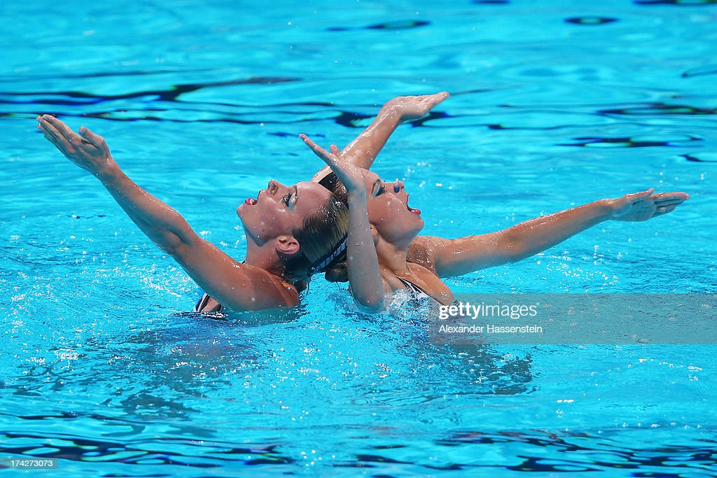 <a gi-track='captionPersonalityLinkClicked' href=/galleries/search?phrase=Maria+Kirkova+-+Swimmer&family=editorial&specificpeople=14698286 ng-click='$event.stopPropagation()'>Maria Kirkova</a> and Kalina Yordanova of Bulgaria compete in the Synchronized Swimming Duet preliminary round on day four of the 15th FINA World Championships at Palau Sant Jordi on July 23, 2013 in Barcelona, Spain.