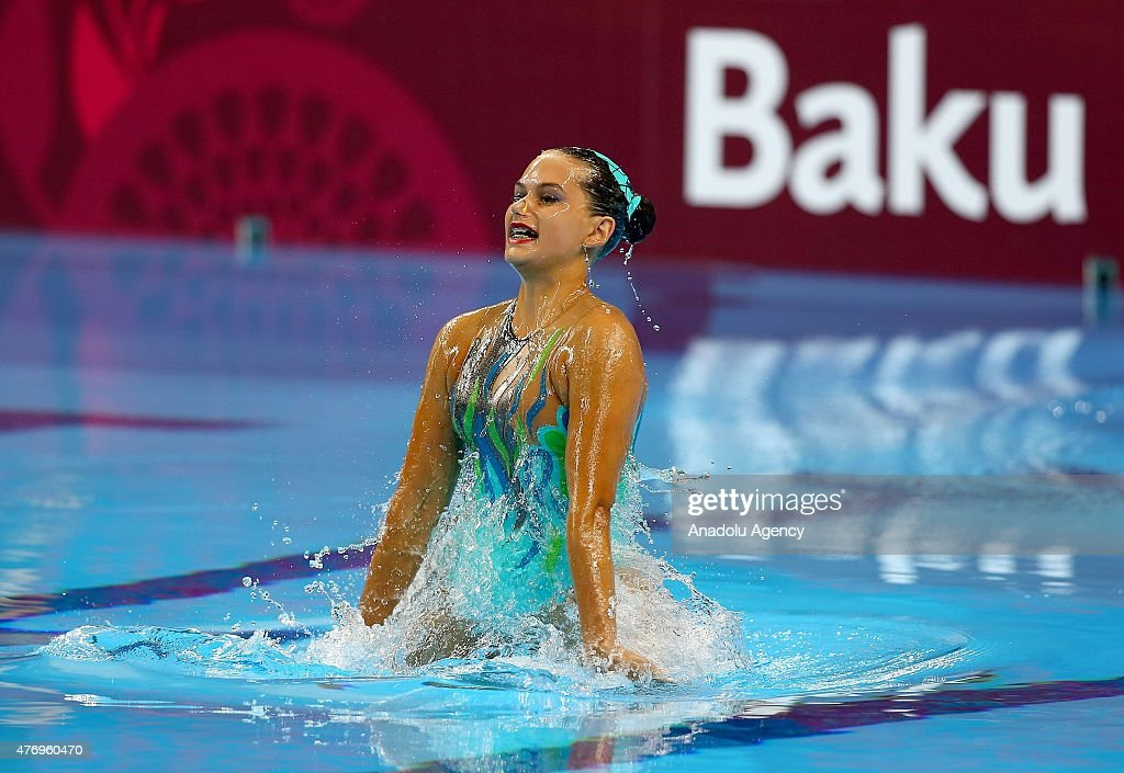 <a gi-track='captionPersonalityLinkClicked' href=/galleries/search?phrase=Maria+Kirkova+-+Swimmer&family=editorial&specificpeople=14698286 ng-click='$event.stopPropagation()'>Maria Kirkova</a> of Bulgaria competes in the Synchronized Swimming Solo Free Routine - Preliminaries during day one of the Baku 2015 European Games at Baku Aquatics Centre on June 13, 2015 in Baku, Azerbaijan.