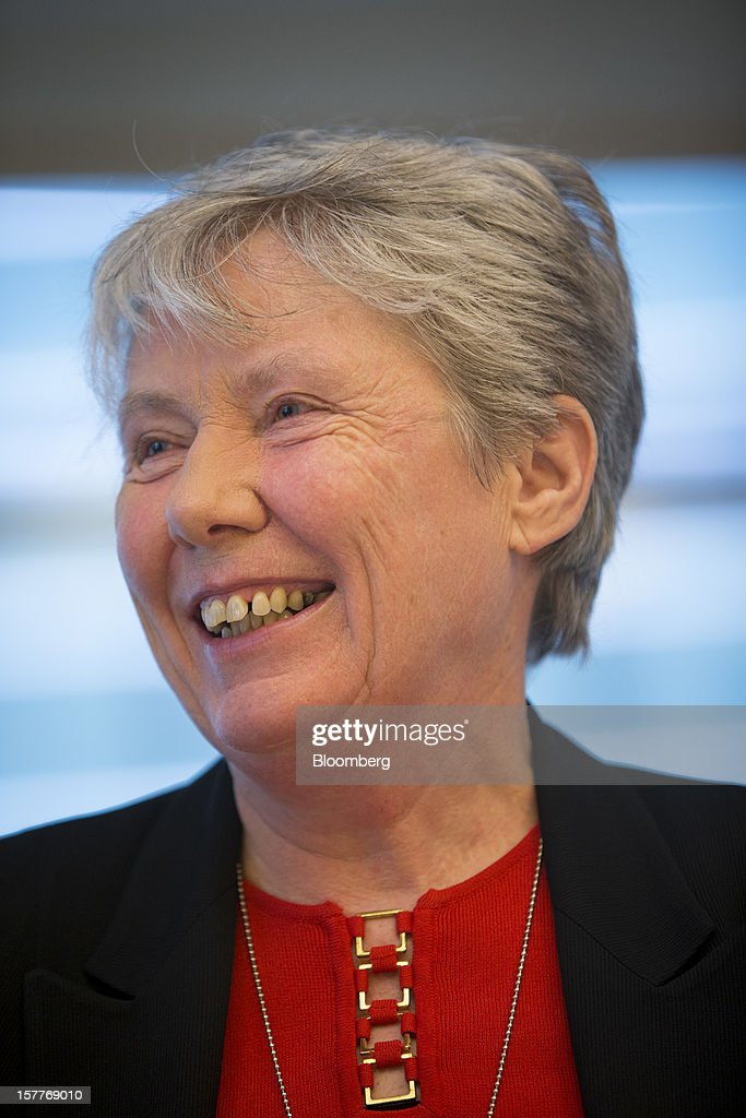 Maria Klawe, president of Harvey Mudd University, laughs during an interview in New York, U.S., on Thursday, Dec. 6, 2012. After earning her bachelor's and doctoral degrees in math at the University of Alberta, she began a career in academia and helped build the computer science program at the University of British Columbia in Vancouver. She left for Princeton in 2003. Photographer: Scott Eells/Bloomberg via Getty Images