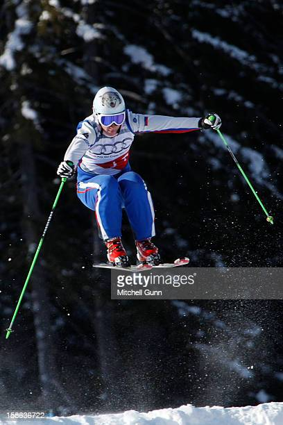 Maria Komissarova of Russia races down the course during the official training session and qualification for the Audi FIS Freestyle Skiing World Cup...