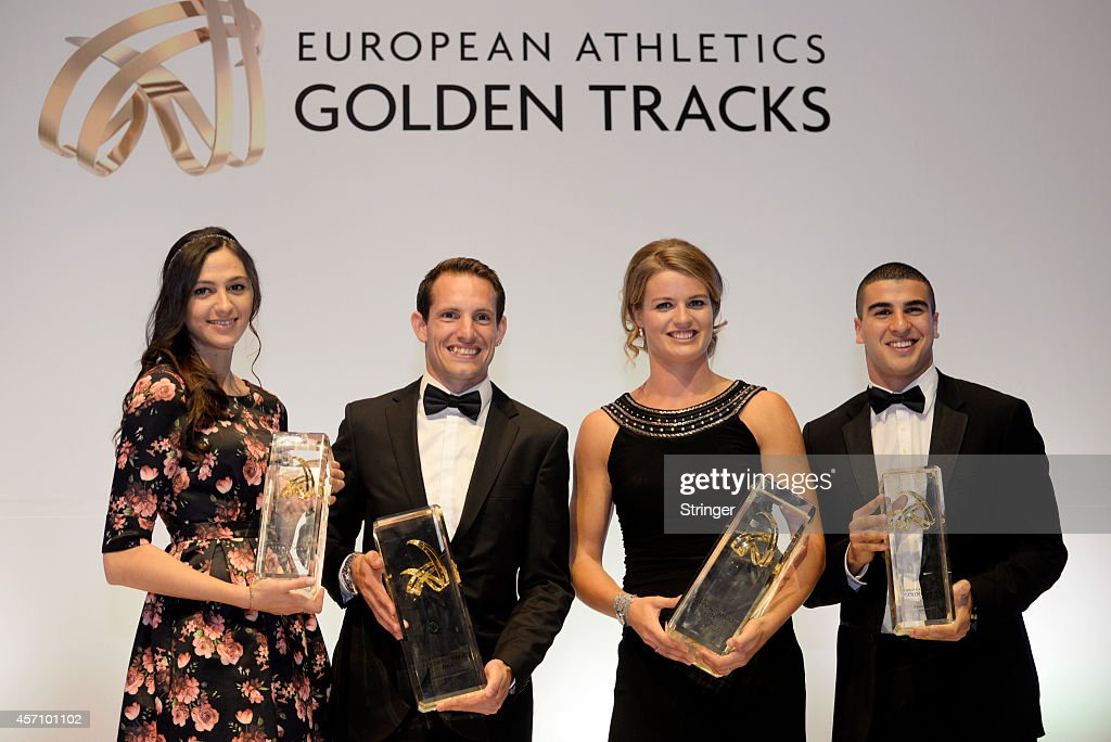 Maria Kuchina of Russia poses with the Woman's Rising Star award, <a gi-track='captionPersonalityLinkClicked' href=/galleries/search?phrase=Renaud+Lavillenie&family=editorial&specificpeople=4955096 ng-click='$event.stopPropagation()'>Renaud Lavillenie</a> of France poses with the Mens's European Athlete of the year award, <a gi-track='captionPersonalityLinkClicked' href=/galleries/search?phrase=Dafne+Schippers&family=editorial&specificpeople=7115446 ng-click='$event.stopPropagation()'>Dafne Schippers</a> of the Netherlands poses with Women's athlete of the year award and <a gi-track='captionPersonalityLinkClicked' href=/galleries/search?phrase=Adam+Gemili&family=editorial&specificpeople=7091483 ng-click='$event.stopPropagation()'>Adam Gemili</a> of Great Britain poses with the Rising Star for men award during day 2 of the European Athletics Convention on October 11, 2014 in Baku, Azerbaijan.