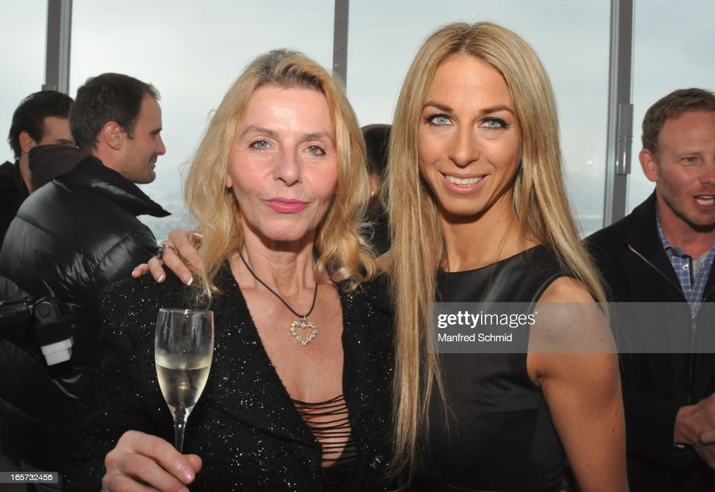 Maria Lahr and Yvonne Rueff pose during a press conference for the 'Dancer Against Cancer' Fruehlingsball at Donauturm on April 5, 2013 in Vienna, Austria.