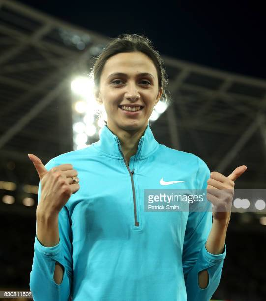 Maria Lasitskene of the Authorised Neutral Athletes gold celebrates after the Women's High Jump Final during day nine of the 16th IAAF World...
