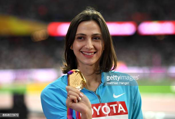 Maria Lasitskene of the Authorised Neutral Athletes gold poses with her medal for Women's High Jump Final during day nine of the 16th IAAF World...