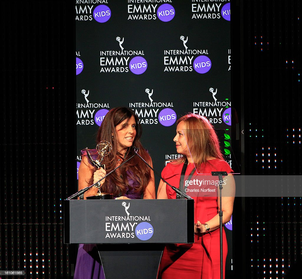 Maria Laura Moure (L) and Cecilia Mendonca (R) from Argentina accept the Kids: Preschool Emmy Award for 'El Jardin de Clarilu' during The Inaugural International Emmy Kids Awards at The Lighthouse at Chelsea Piers on February 8, 2013 in New York City.