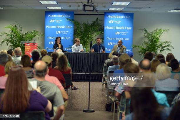 Maria LenRios Mike Wilson Enrique Acevedo and Earnest L Perry attend The Miami Book Fair at Miami Dade College Wolfson on November 19 2017 in Miami...