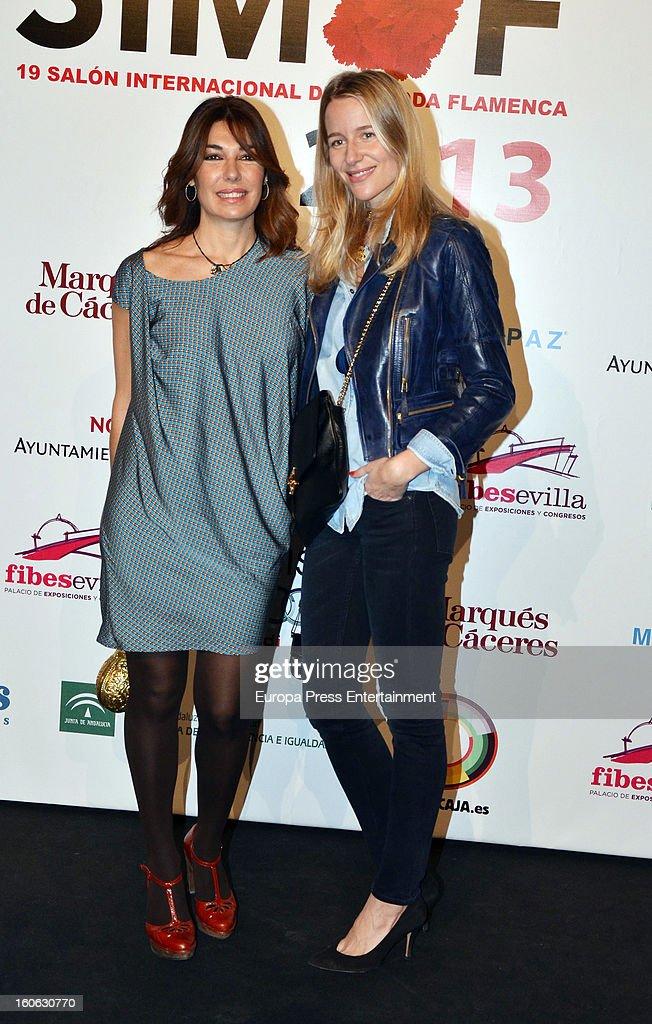 Maria Leon (R) and Raquel Revuelta (L) attend International Flamenco Fashion Show 'SIMOF' on February 2, 2013 in Seville, Spain.