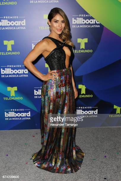 Maria Leon poses in the press room during the Billboard Latin Music Awards at Watsco Center on April 27 2017 in Coral Gables Florida