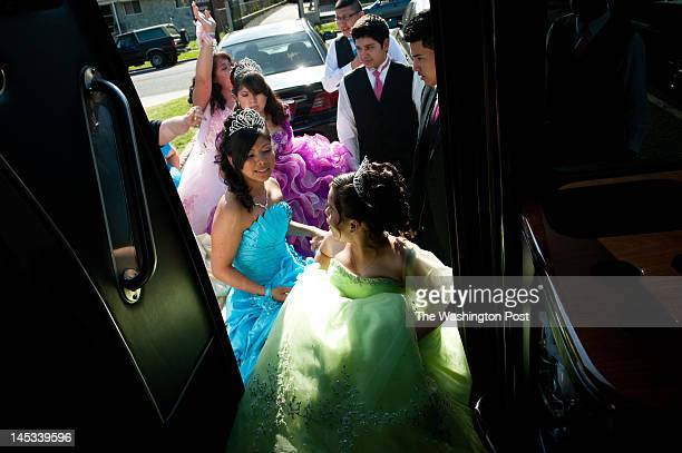 Maria LopezGarcia front and thirteen other participants board a limo bus to their quinceanera party They participated in the Mis Quince Anos...