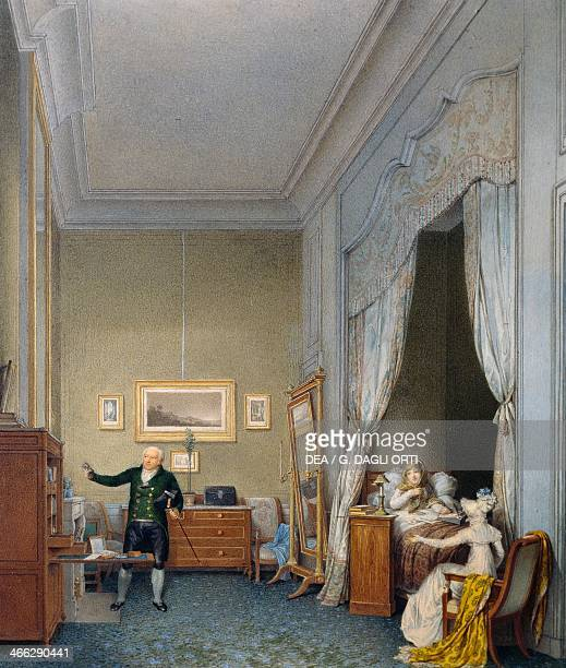 Maria Luigia in her room at the Tuileries after the birth of the King of Rome by Isabey JeanBaptiste